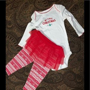Carters my first Christmas outfit set sz 12m